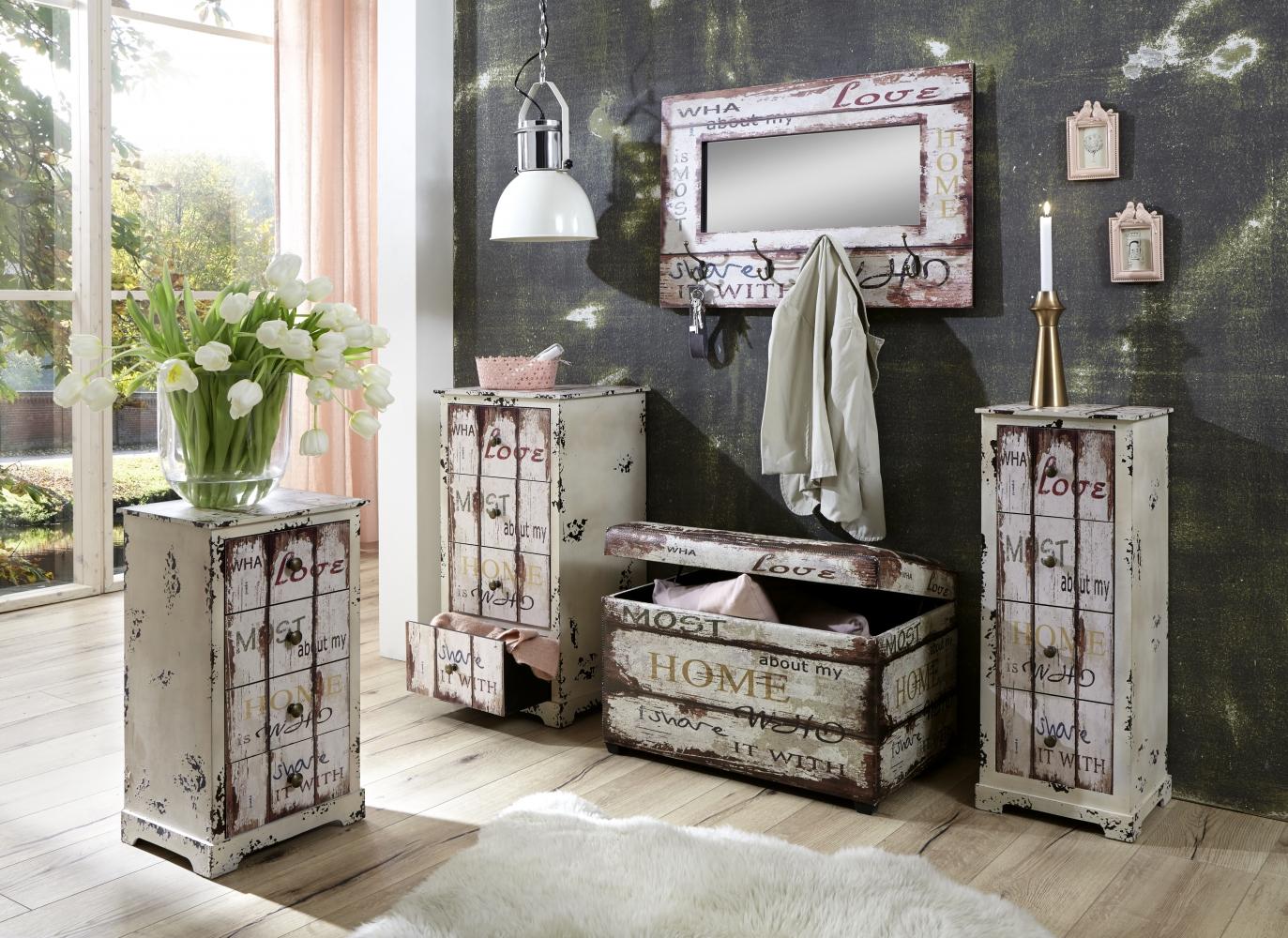 Lavice s úložným prostorem Home with Love, 65 cm
