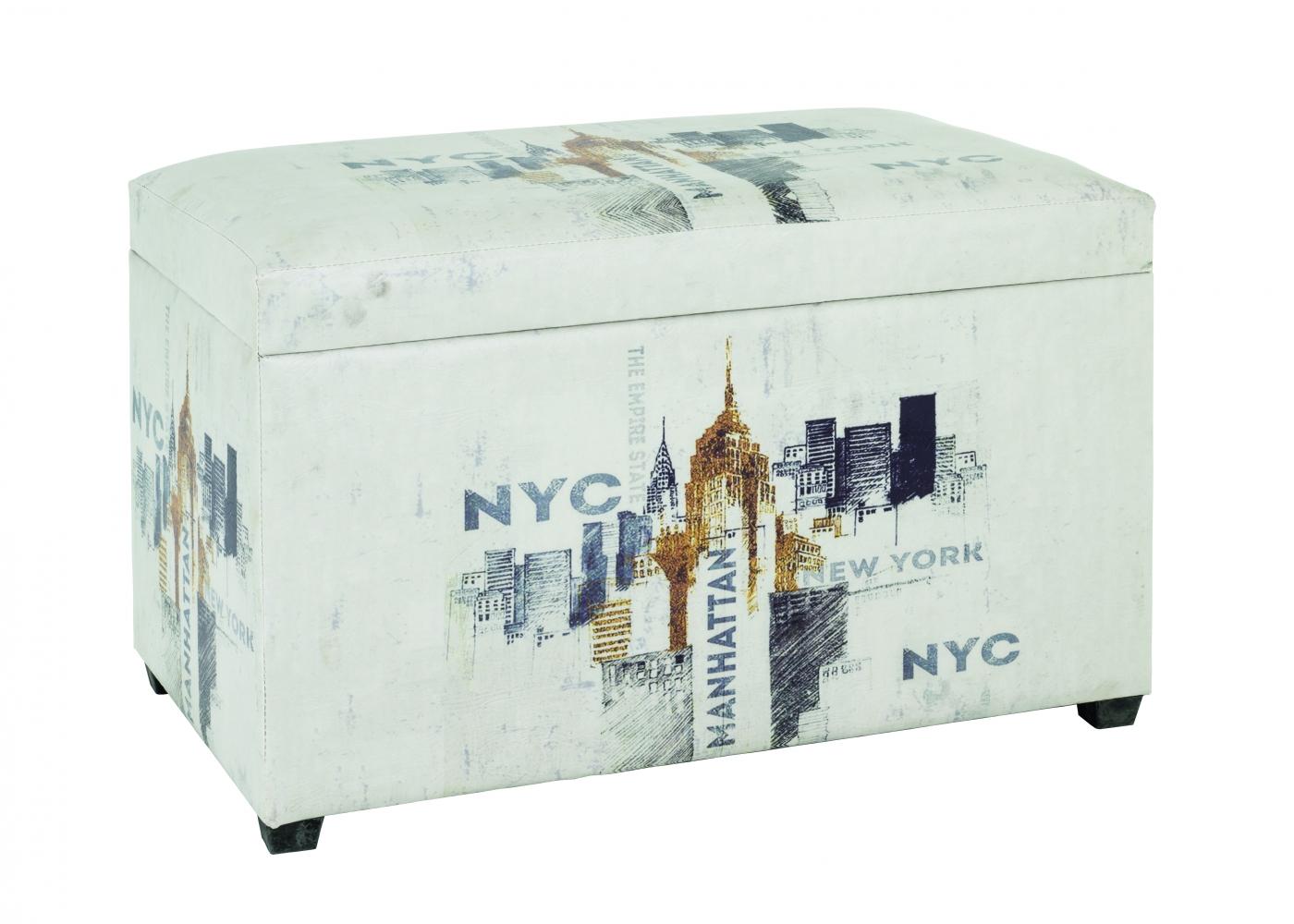 Lavice s úložným prostorem New York, 42 cm, krémová