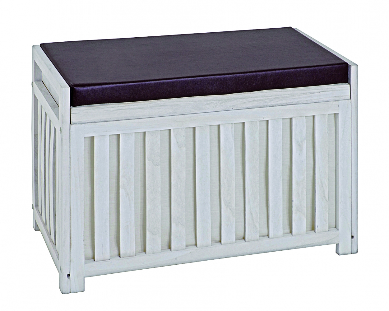 Lavice s úložným prostorem Yuri, 65 cm, bílá