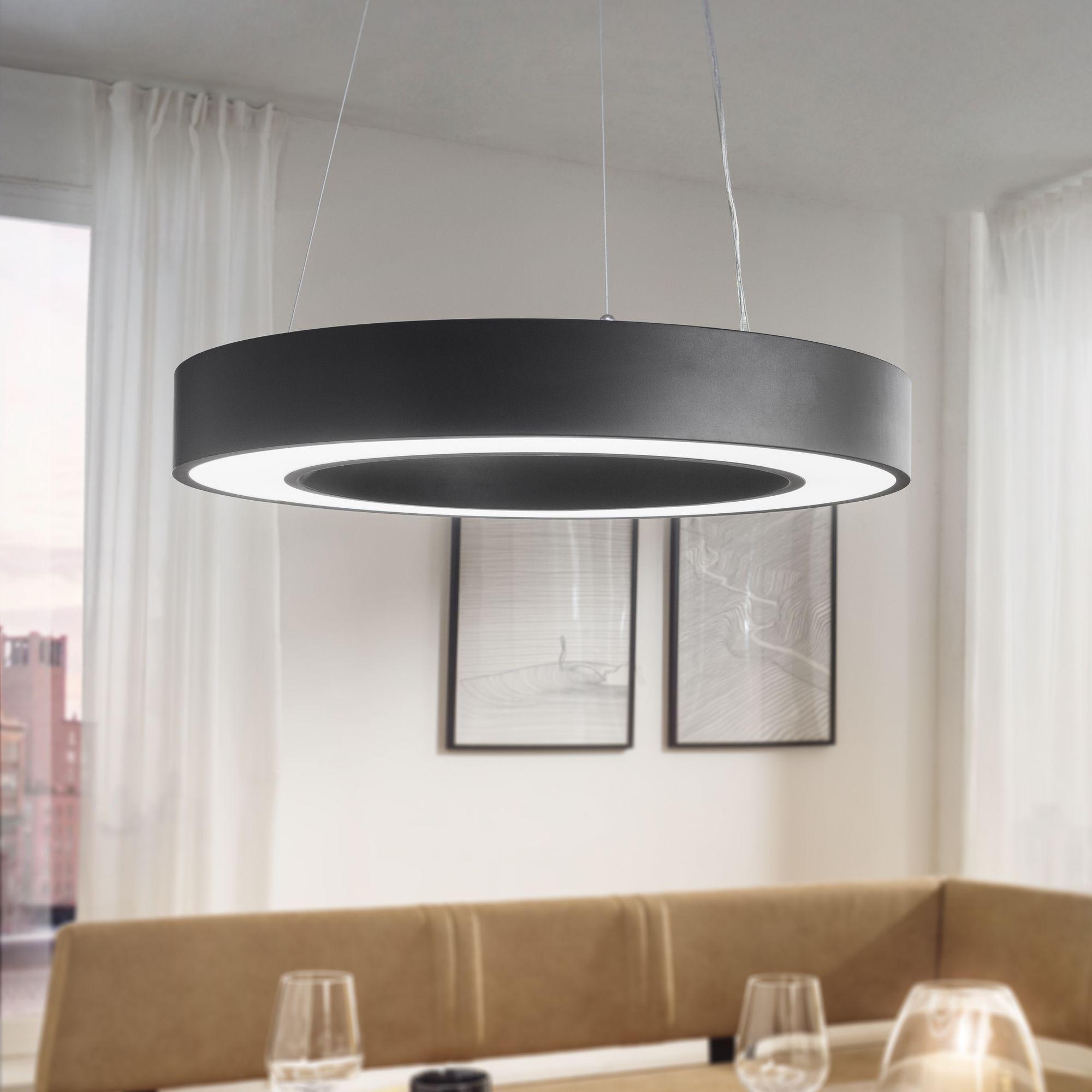 LED závěsné svítidlo Circle, 60 cm, černá