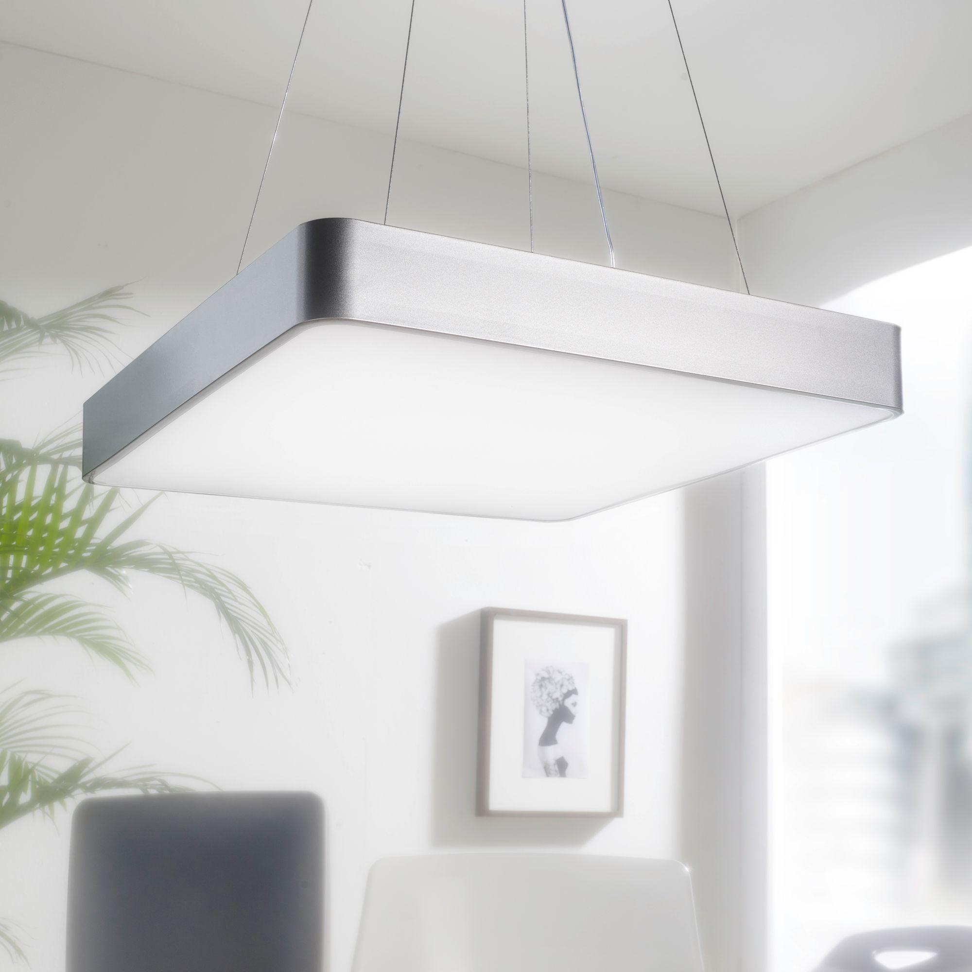 LED závěsné svítidlo Square, 60 cm, stříbrná