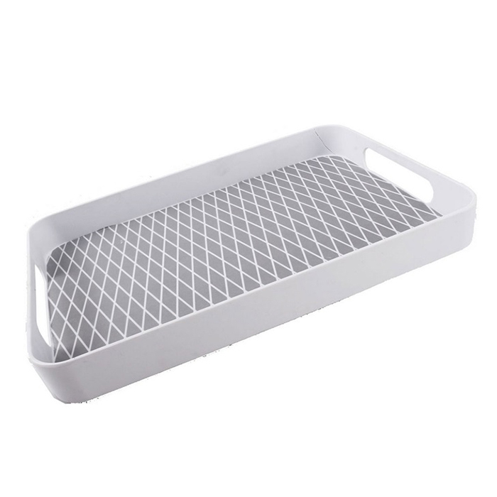 Melaminový podnos Squares, 50 cm, bílá/stříbrná