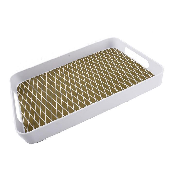 Melaminový podnos Squares, 50 cm, bílá/zlatá