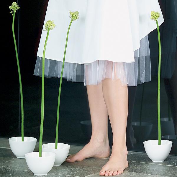 Mísa střední, 13 cm s držákem květin, list