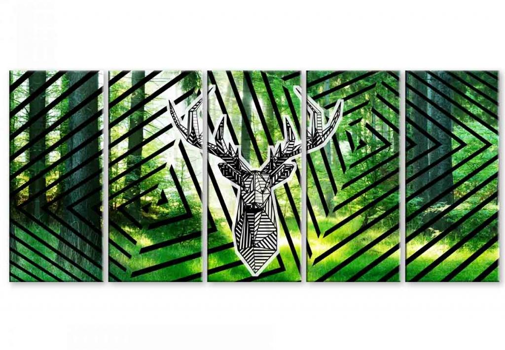Moderní obraz Jelení geometrie, 200x90 cm