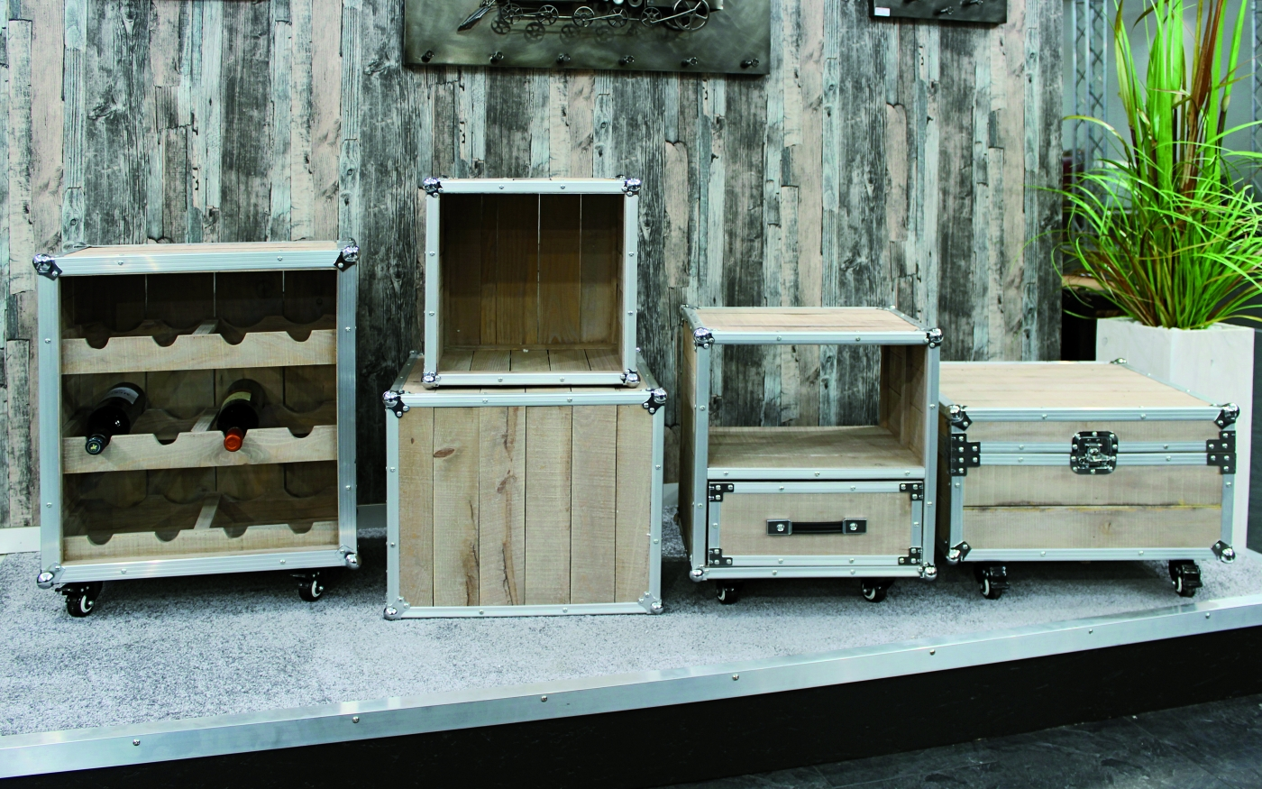Multifunkční stolky Gerda, sada 2 kusů, borovice