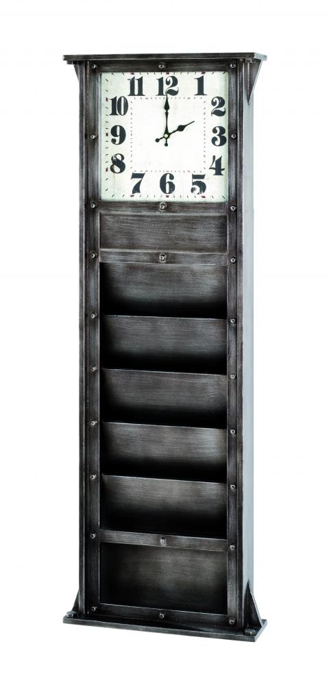 Nástěnka s hodinami a příhrádkami Trident, 120 cm, antracitová
