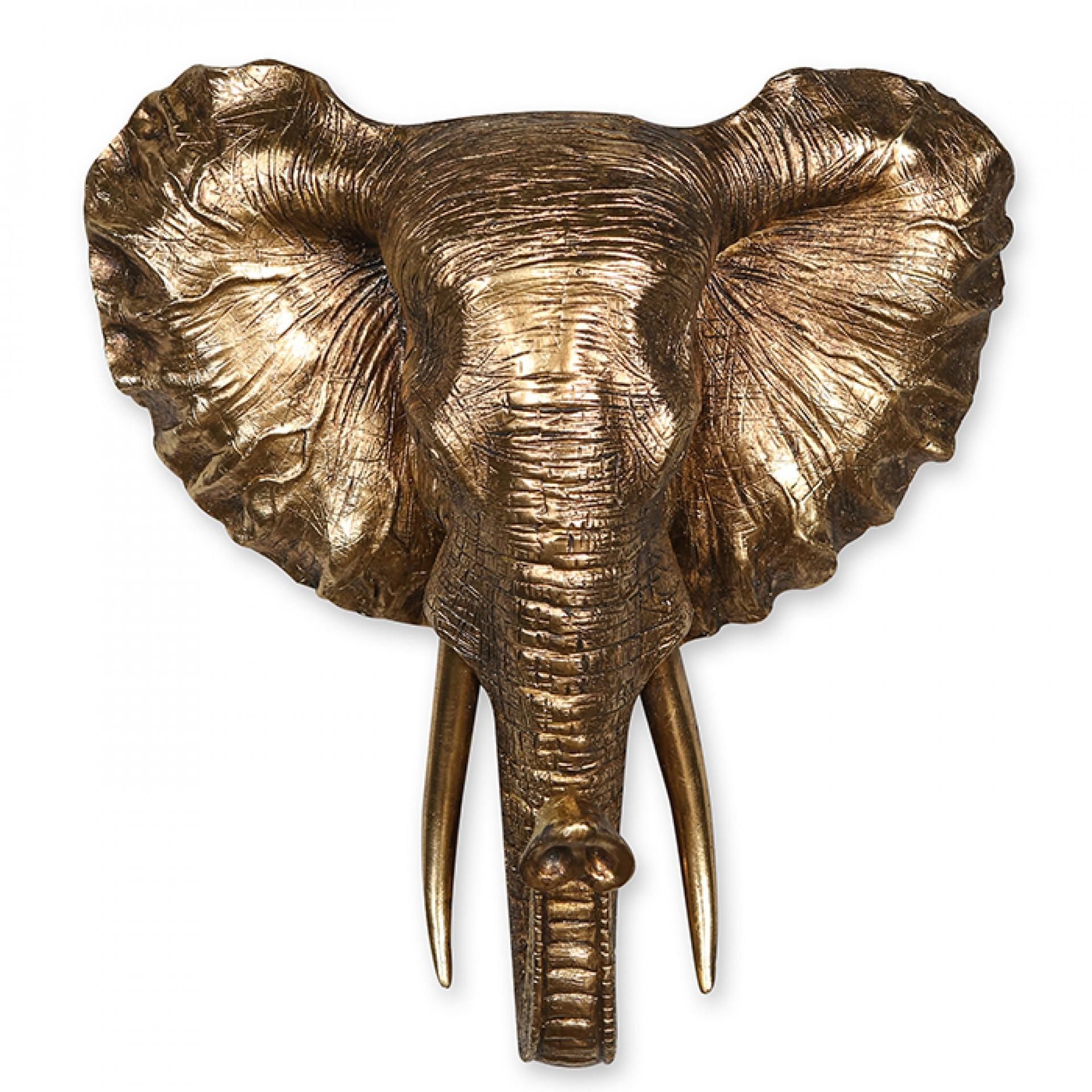 Nástěnná dekorace Elephant, 45 cm, zlatá