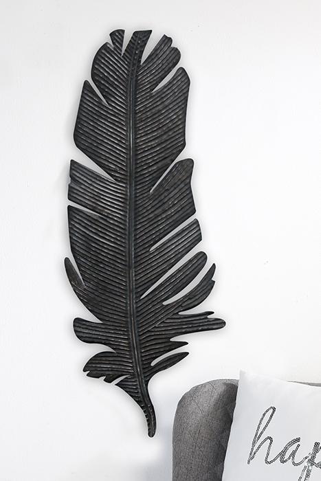 Nástěnná dekorace kovová Feder, 67 cm