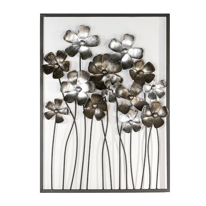 Nástěnná dekorace kovová Fleurs, 80 cm