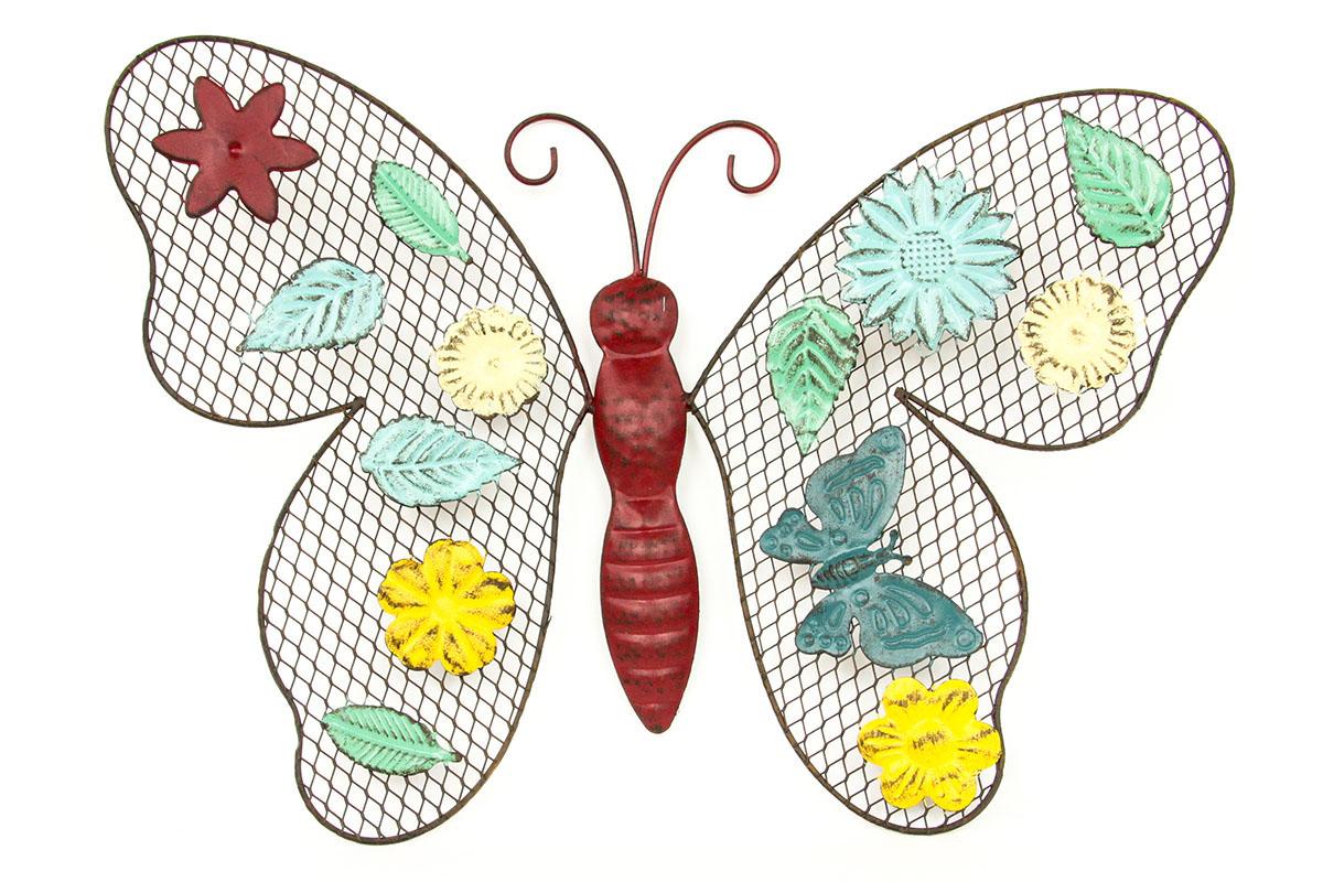 Nástenná kovová dekorace Butterfly, 34 cm