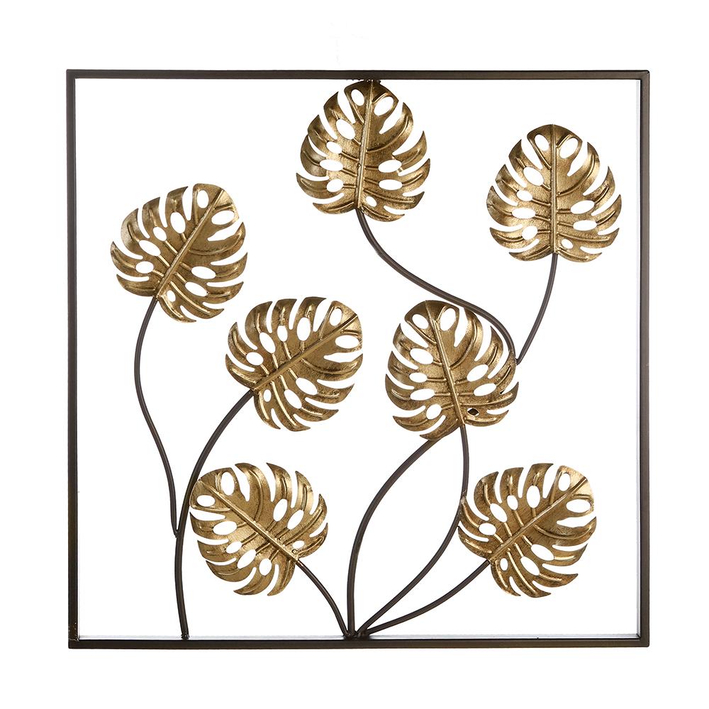 Nástěnná kovová dekorace Exotic Leaf, 60 cm
