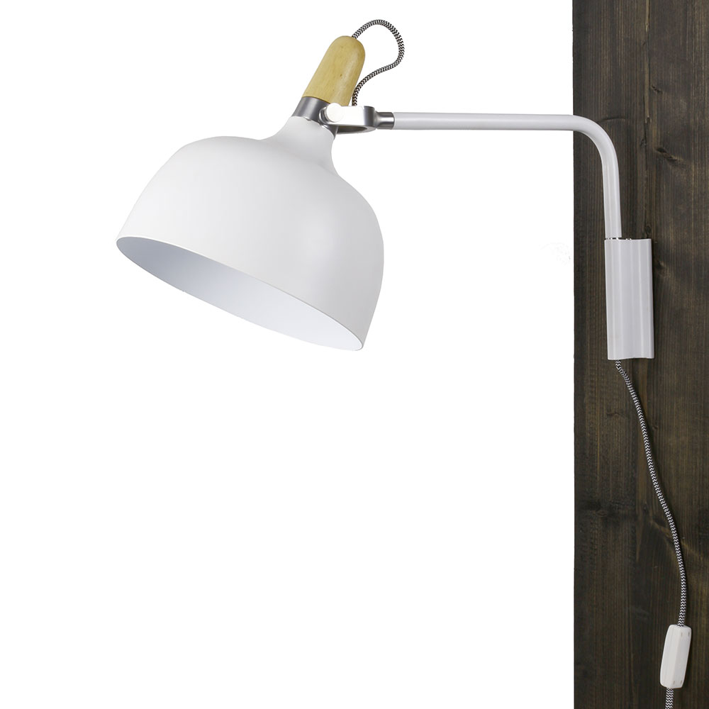 Nástěnná lampa kovová Acky, 32 cm, bílá