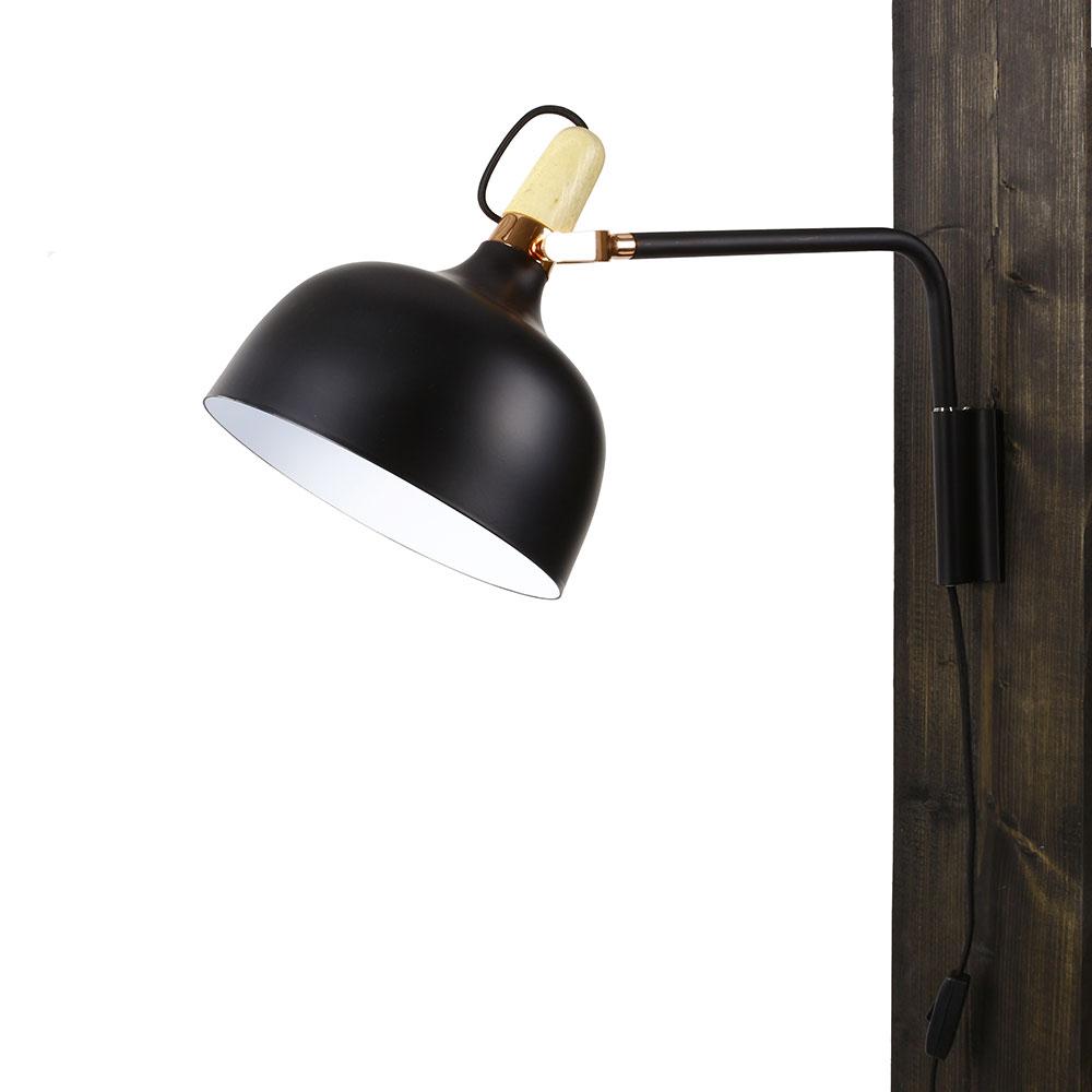 Nástěnná lampa kovová Acky, 32 cm, černá