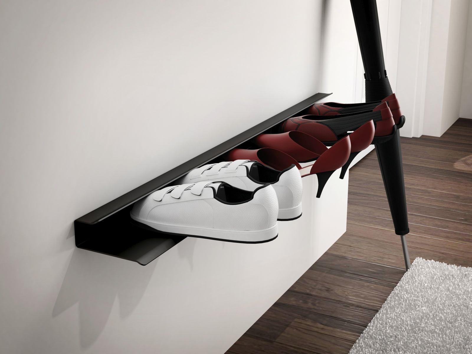 Nástěnná police na boty Sko, 85 cm, černá