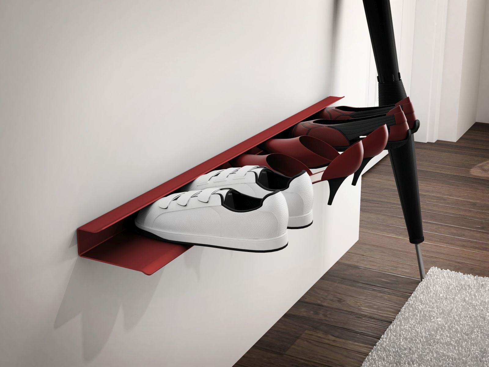 Nástěnná police na boty Sko, 85 cm, červená