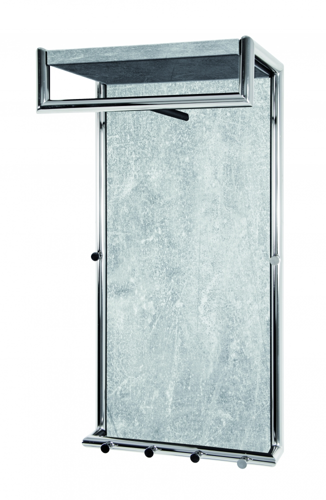 Nástěnná stěna s háčky Artie, 80 cm, chrom/beton