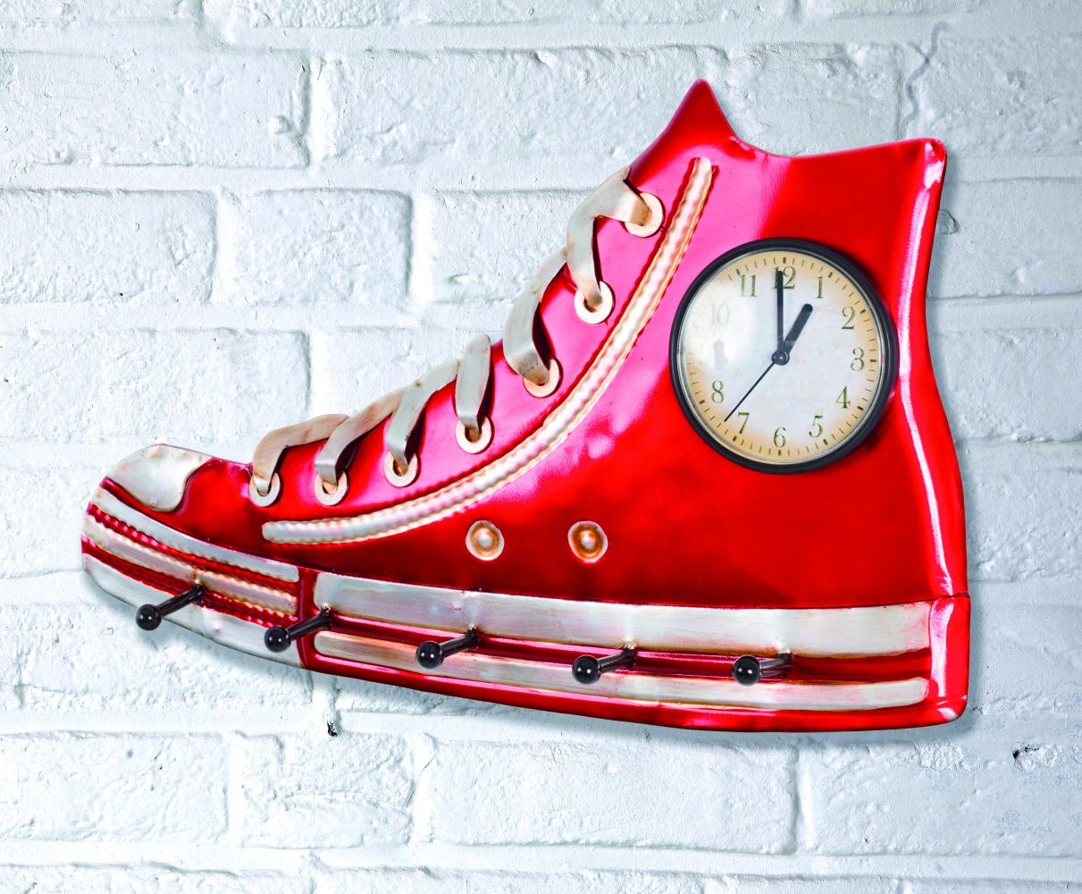 Nástěnné 3D hodiny s 5 háčky Efect, 50 cm, červená