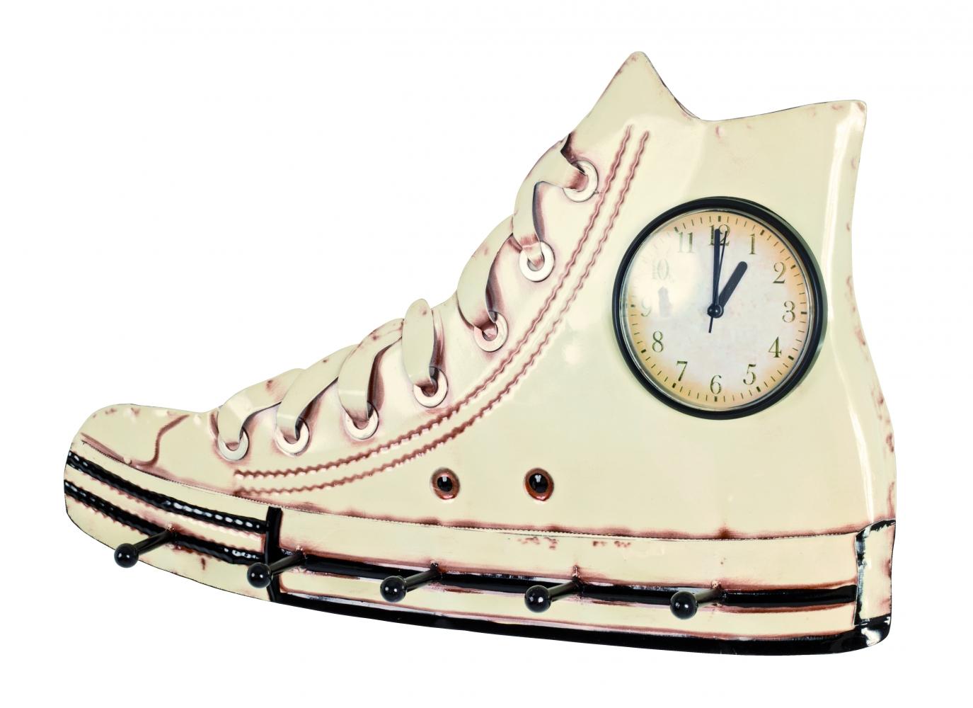 Nástěnné 3D hodiny s 5 háčky Efect, 50 cm, krémová