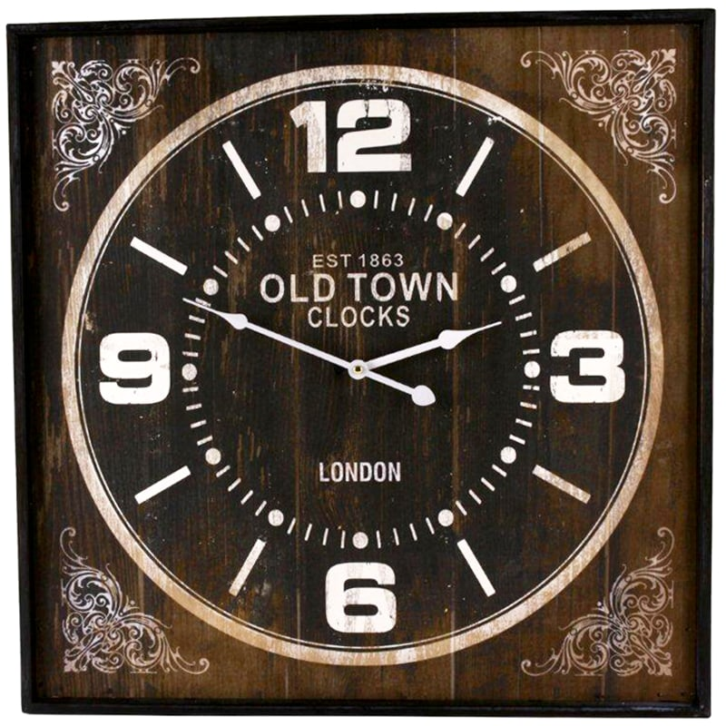 Nástenné hodiny Old Town hranaté, 60 cm , hnedá
