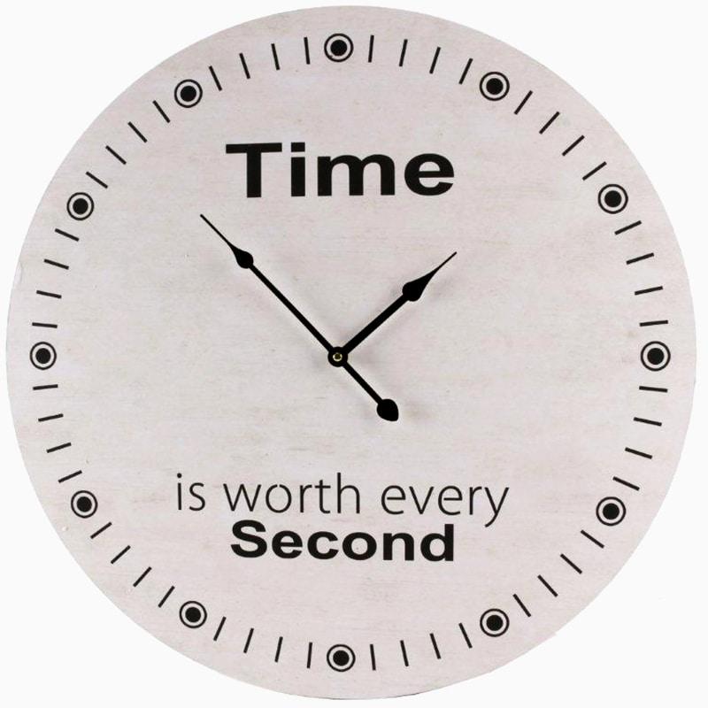 Nástenné hodiny Time, 58 cm , biela / čierna