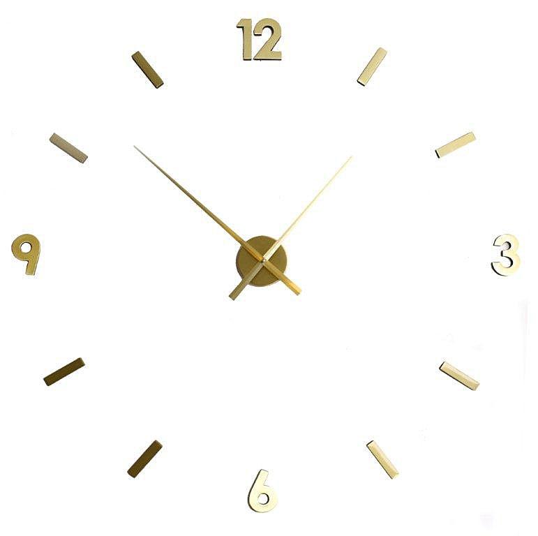 Nástěnné hodiny z nalepovacích číslic Maxi, mosaz