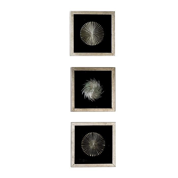 Nástěnné obrázky Frencis (SET 3 ks), 30 cm, černo stříbrná