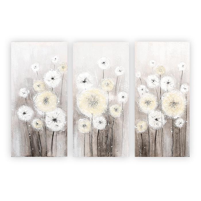 Nástěnné obrazy Flowers (SET 3 ks), 60 cm, bílo šedá