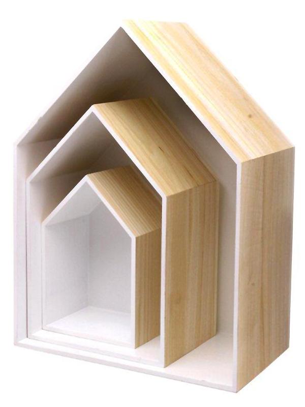 Nástěnné police dřevěné Roof, sada 3 ks