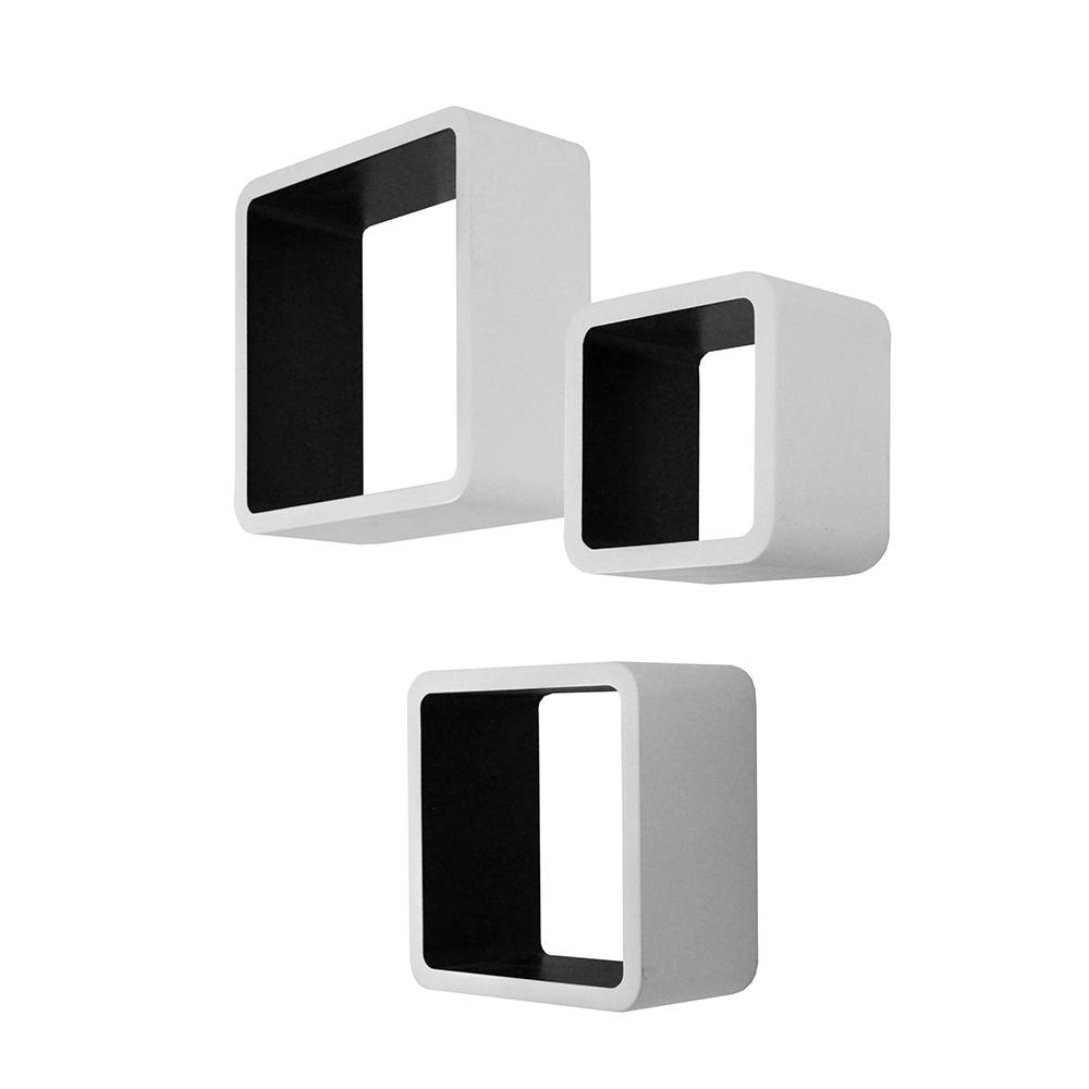 Nástěnné police Kvadrat, sada 3 ks, bílá/černá
