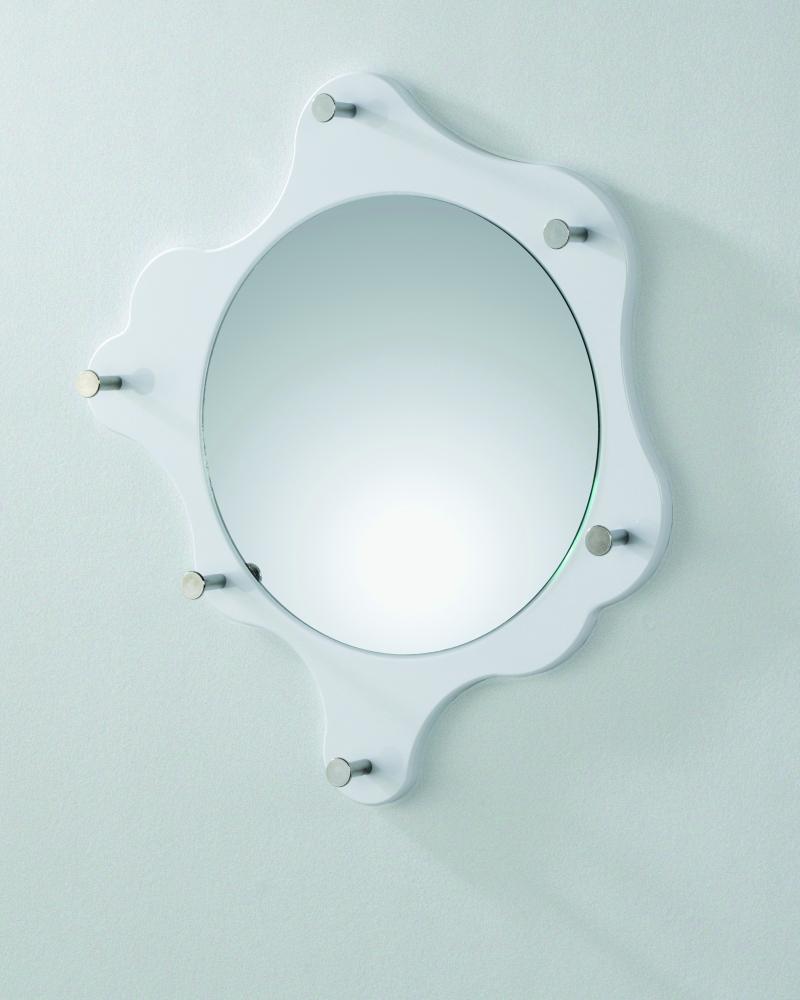 Nástěnné zrcadlo Avenus, bílá / chrom