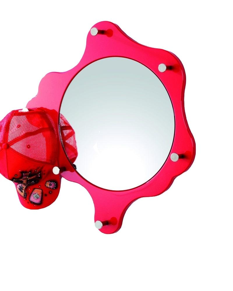 Nástěnné zrcadlo Avenus, chrom / červená