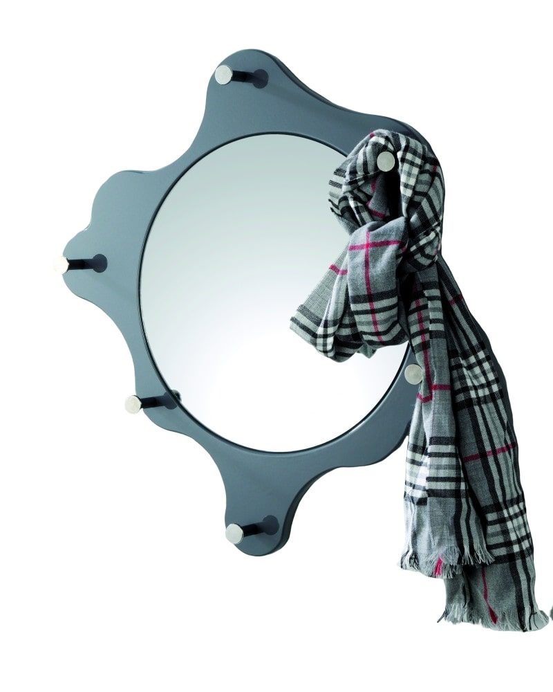 Nástěnné zrcadlo Avenus, chrom / šedá
