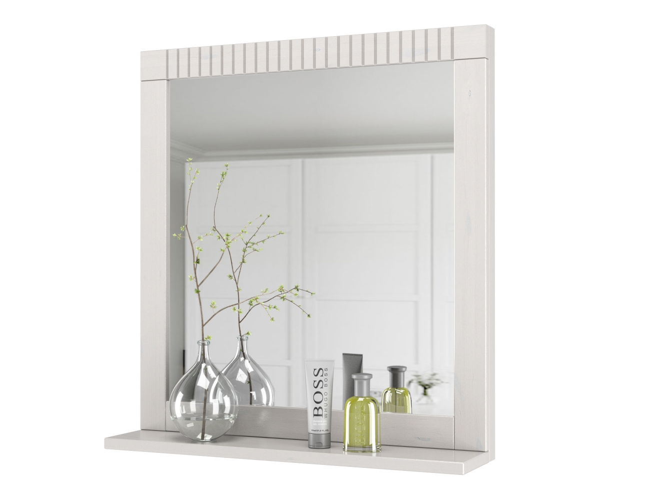 Nástěnné zrcadlo Rocia, 65 cm, bílá