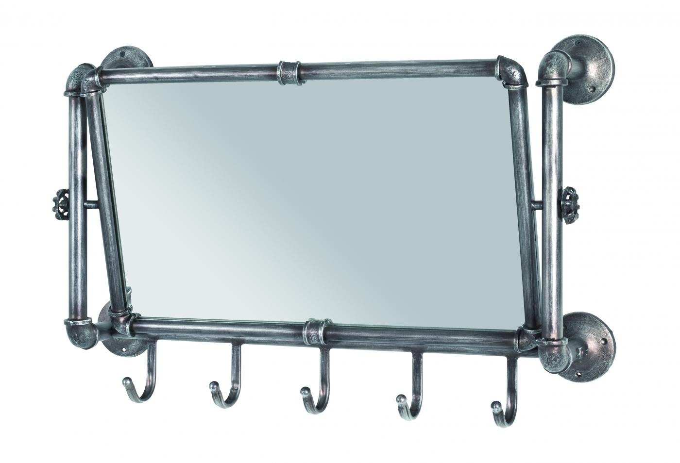 Nástěnné zrcadlo s háčky Aleca, 45 cm, antracitová
