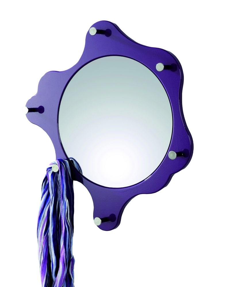 Nástěnné zrcadlo s háčky Itab, 56 cm, ostružinová