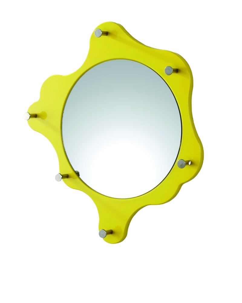 Nástěnné zrcadlo s háčky Itab, 56 cm, žlutá