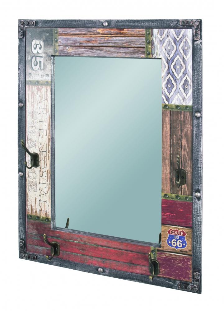Nástěnné zrcadlo se 4 háčky Bron, 75 cm