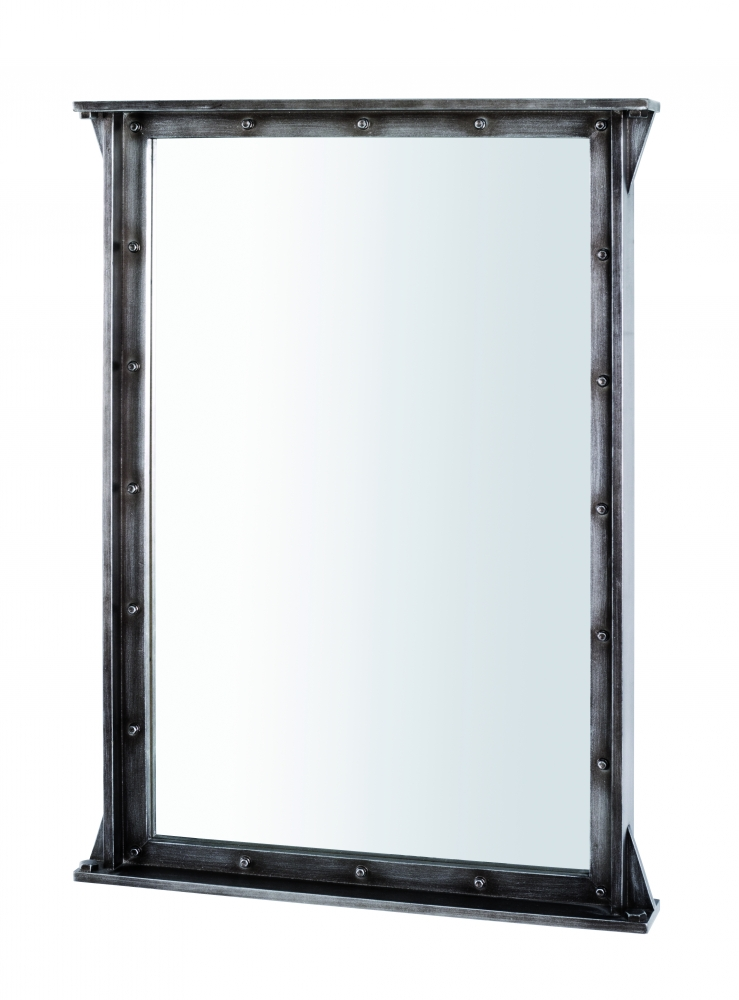 Nástěnné zrcadlo Trident, 90 cm, antracitová