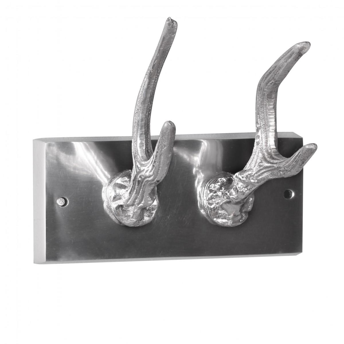 Nástěnný hliníkový věšák s 2 háčky Hjort, 16 cm