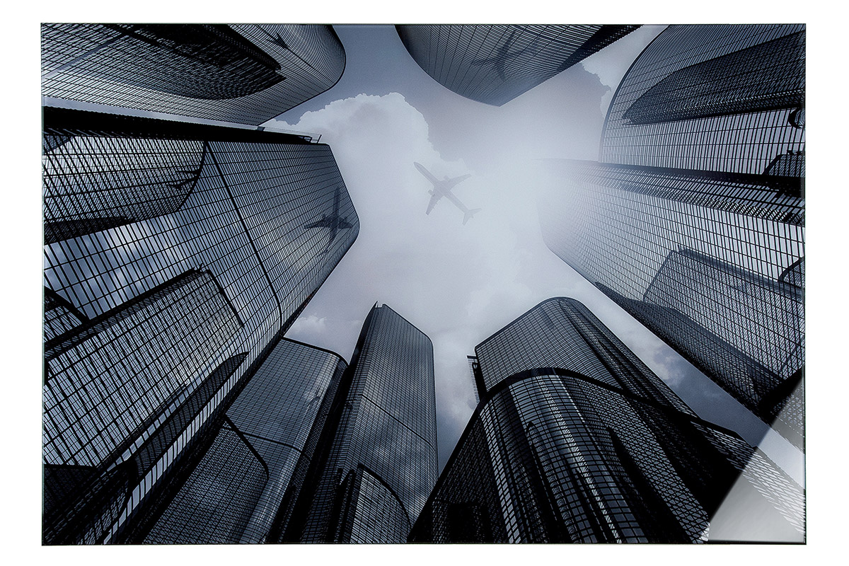 Nástěnný obraz City, bílá / černá