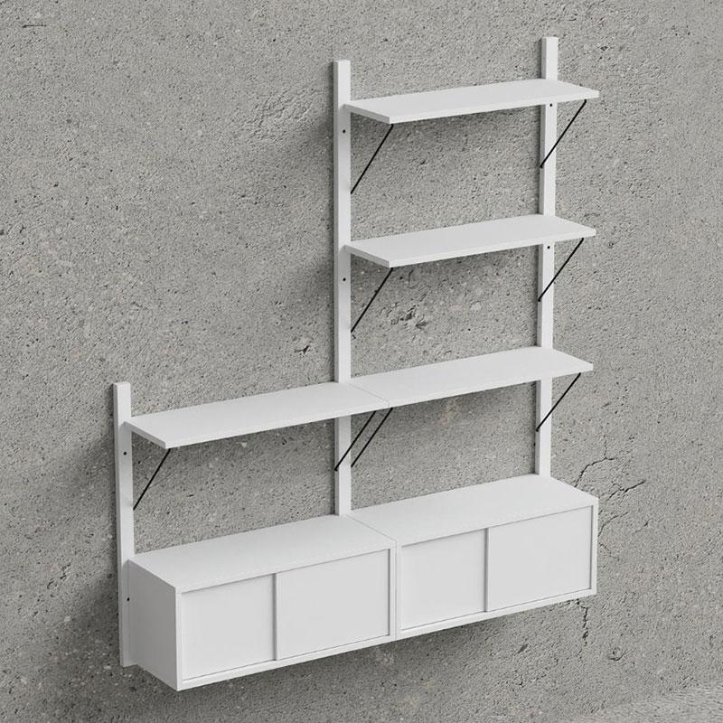 Nástěnný policový systém Dellan, 158 cm, bílá