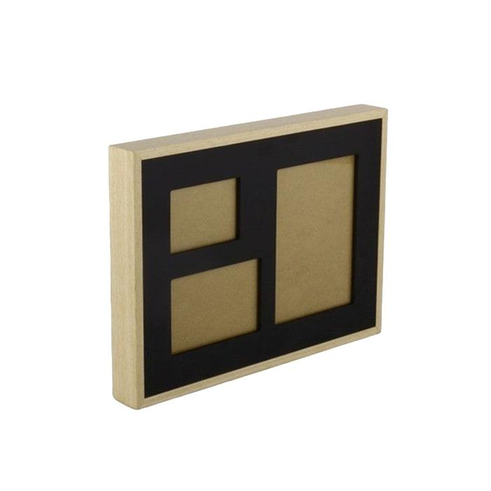 Nástěnný rámeček pro 3 fotky Frame, 35 cm, černá