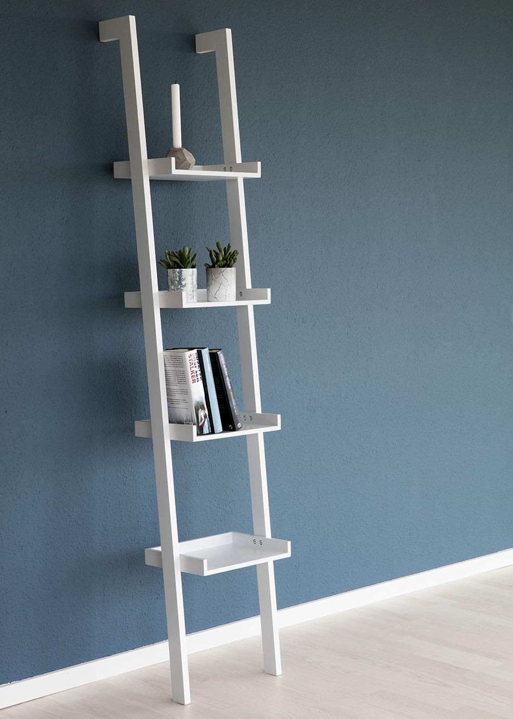 Nástěnný regál / knihovna Flake 37 cm, bílá