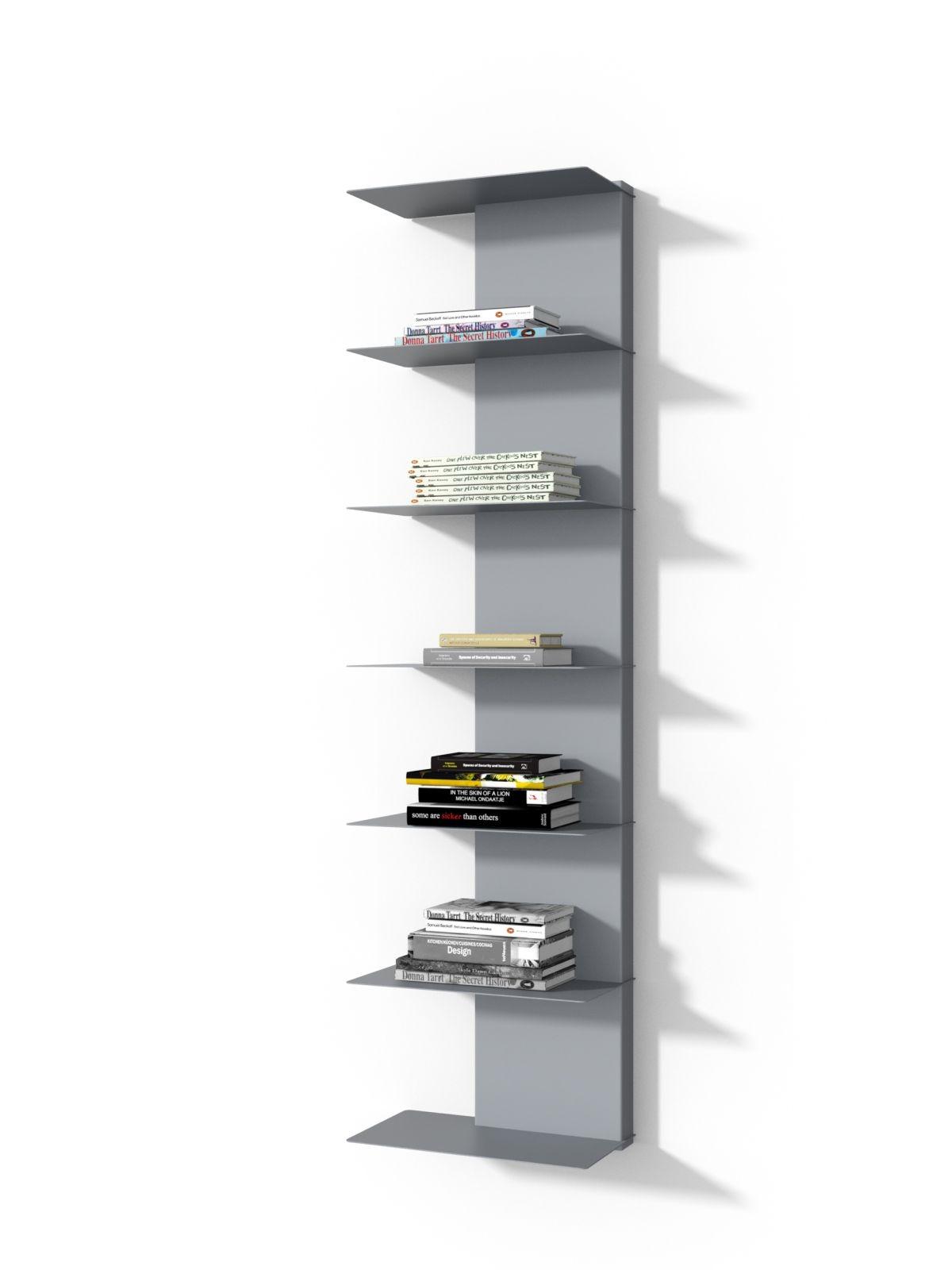 Nástěnný regál / knihovna Libri 2, 150 cm, šedá