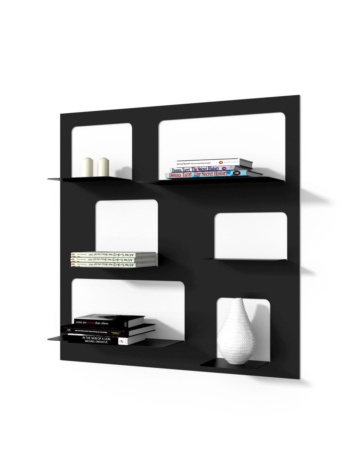 Nástěnný regál / knihovna Libri 3, 90 cm, černá