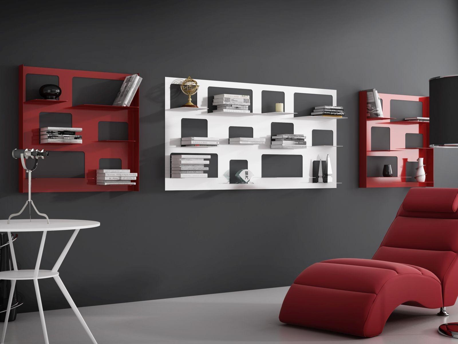 Nástěnný regál / knihovna Libri 3, 90 cm, červená