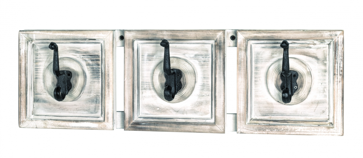 Nástěnný věšák Gabe, 18 cm, krémová / bílá