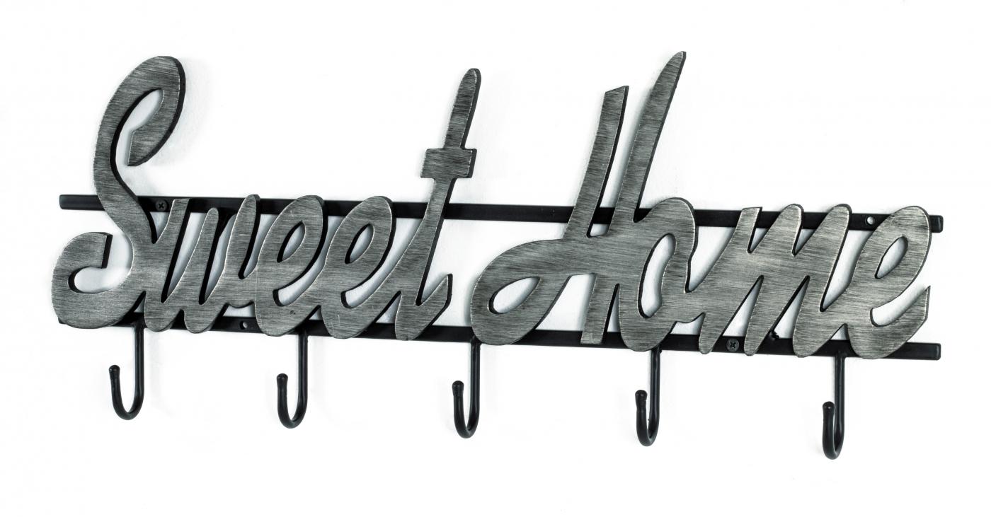Nástěnný věšák Houwie, 23 cm, černá / stříbrná