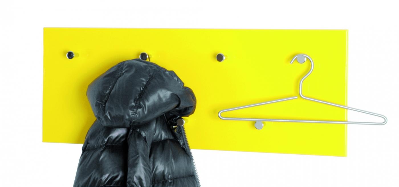 Nástěnný věšák Itab, 80 cm, žlutá